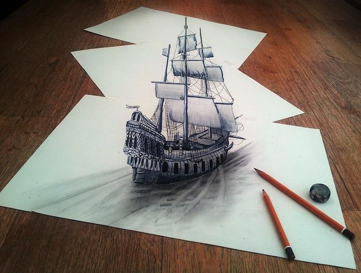 Dibujos 3D con un lpiz y papel