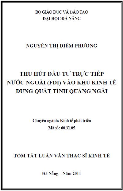 Thu hút đầu tư trực tiếp nước ngoài (FDI) vào khu kinh tế Dung Quất tỉnh Quảng Ngãi