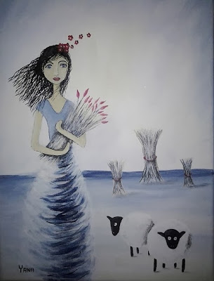 Art acrylic painting Yana Fourie Eccentric Eclectic Studio. Dream Series. Illustration