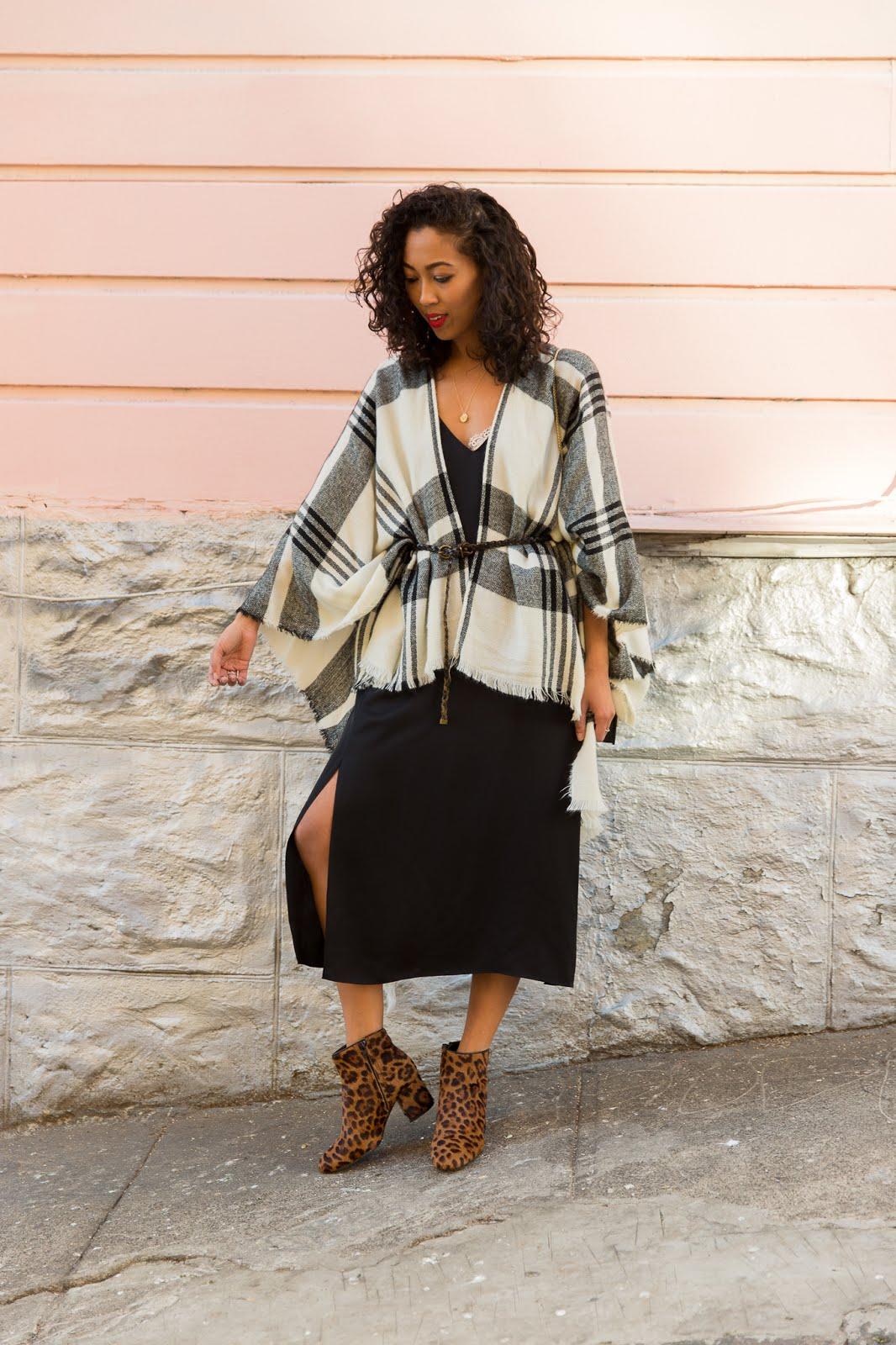 pancakestacker blog; #ootd; outfit; zara leopard boots; grana silk dress; furla metropolis crossbody; Nordstrom plaid poncho