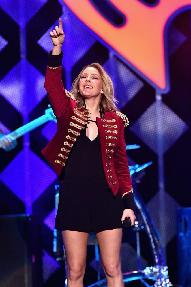 Ellie Goulding wears military inspired jacket to the Z100 iHeartRadio Jingle Ball 2016 in NY