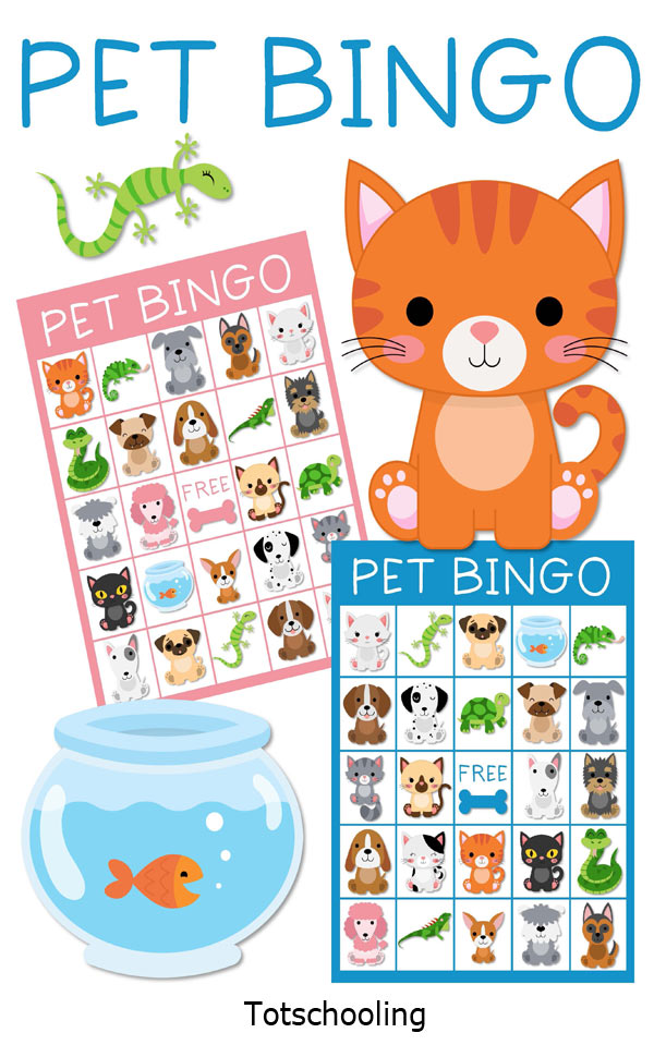 FREE printable BINGO game for preschool kids to have fun while learning about pets. Perfect for a pet theme or Dr. Seuss theme!