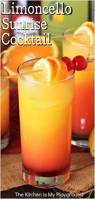 Limoncello Sunrise Cocktail ~ Super simple to make, absolutely delicious, & loaded with fabulous Limoncello lemon flavor. Lemon lovers, there's not much more to ask for in a drink!  www.thekitchenismyplayground.com