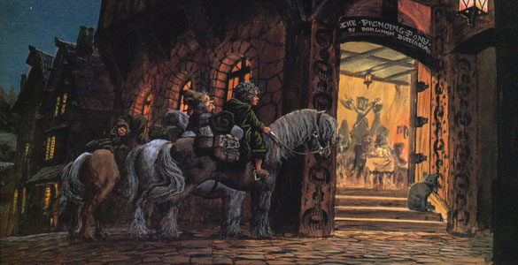 Hobbits at «The prancing poney»