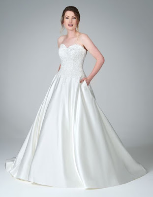 mercy- beauitful with pocket and ivory-oyster color wedding dress
