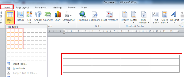 Cara Membuat Kotak Tabel Di Office Word 2010