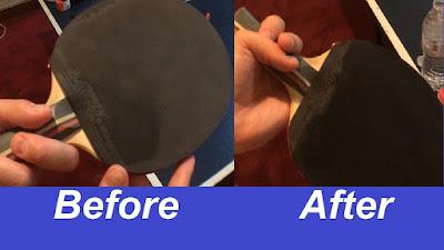 Sự khác biệt thấy rõ trước và sau khi vệ sinh vợt bóng bàn