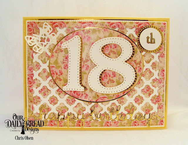 Our Daily Bread Designs, Large Numbers dies and Celebration stamp set as well as the Bitty Butterflies dies, Pierced Rectangles Dies, Pierced Circles dies, Circles dies, Happy Birthday Script die, Boho Background die, and Blushing Rose Collection 6x6 paper pad.