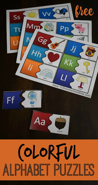 FREE Colorful Alphabet Puzzles are such a fun way for toddler, preschool, prek, and kindergarten age kids. LOW PREP, hands on, educational activity for teaching kids their letters, abc games #alphabet #alphabetpuzzles #alphabetpractice #freealpahbetgames #kindergartenworksheetsandgames