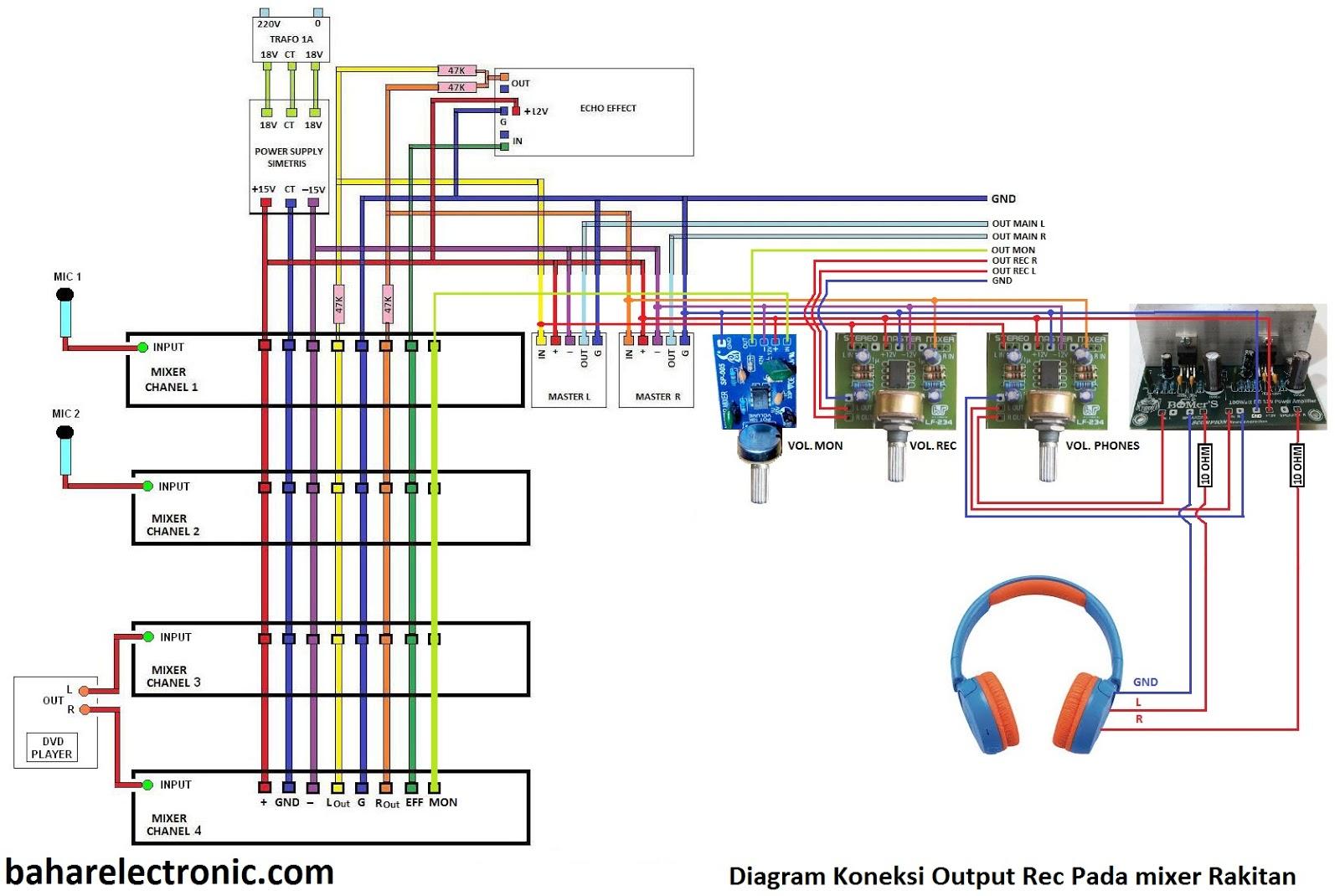 Bahar Electronic Cara Merakit Mixer Audio Sound System Tone Control Mono Modifikasi Dan Assesoris Penambahan Output Rec Pada Rakitan Berikut Gambar Koneksi
