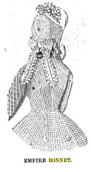 Empire bonnet, Peterson's Magazine, September 1865.