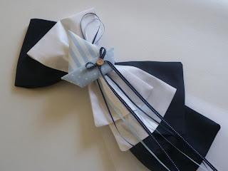 Διακοσμητικός φιόγκος κολυμπήθρας λευκό γαλάζιο καραβάκι