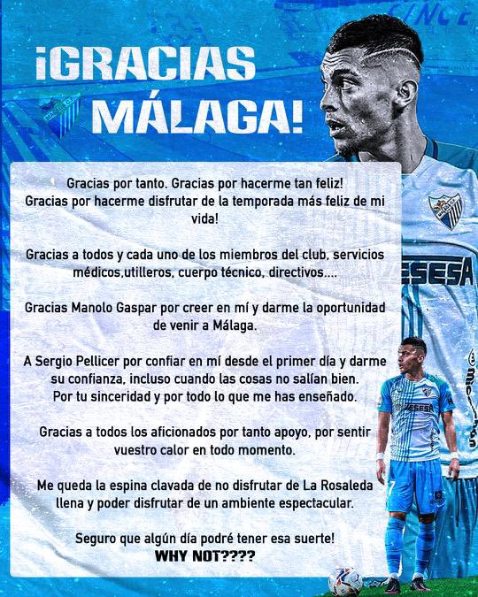 "Yanis Rahmani se despide del Málaga: ""Gracias por tanto"""