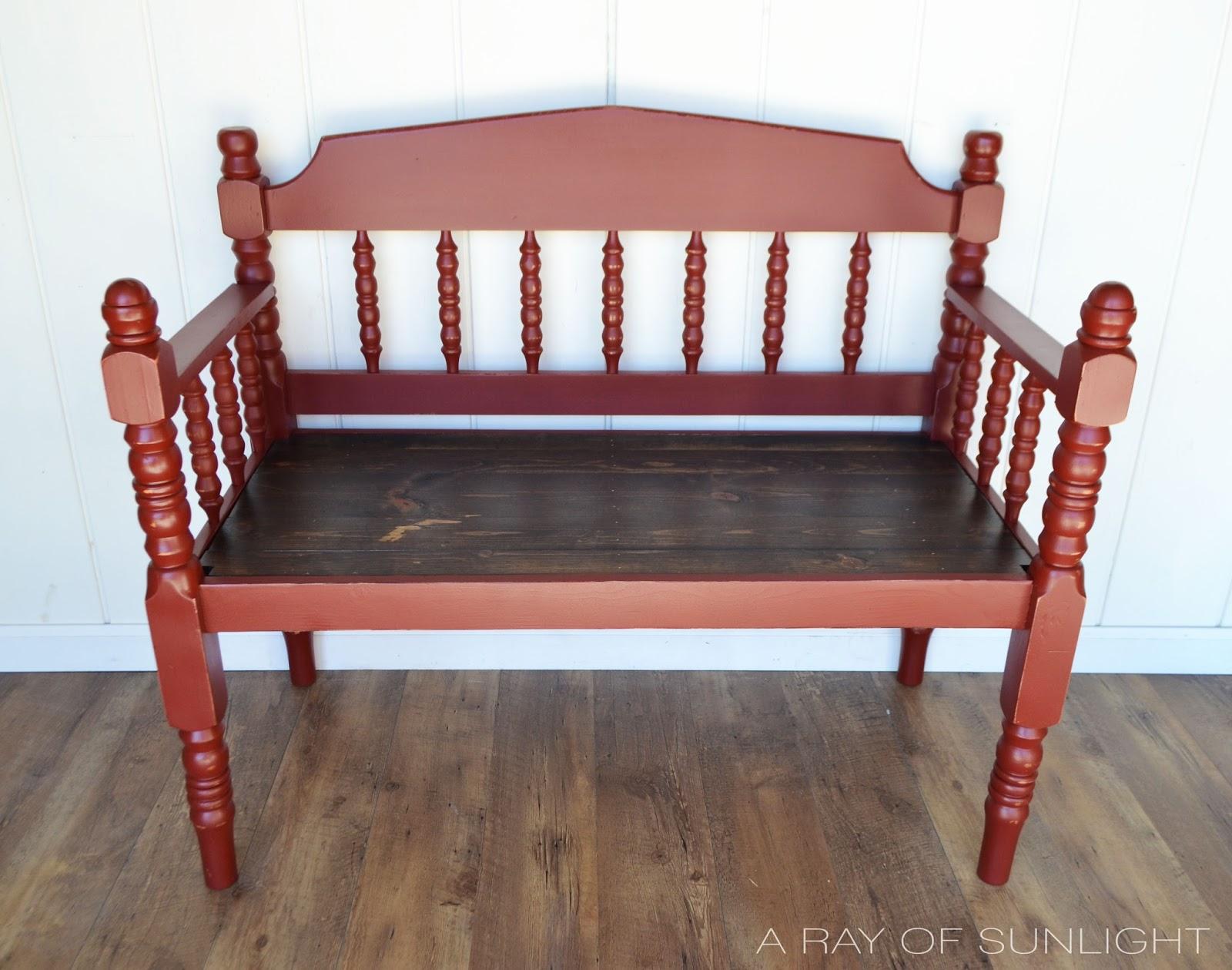 Dark Red Bench with Dark Walnut Seat