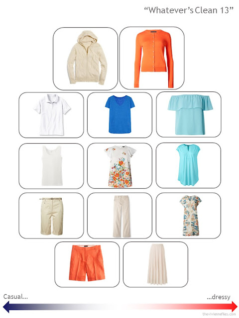 a 13-piece Whatever's Clean wardrobe in beige, white, aqua, blue and orange