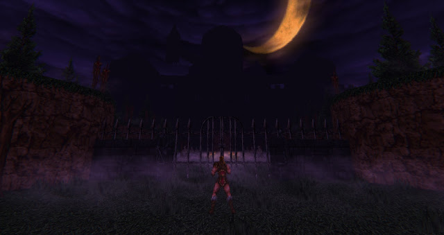 the introduction screen of Castlevania Simon's Destiny, right before the game starts. We can see Simon Belmont from the back, facing the castle entrance.