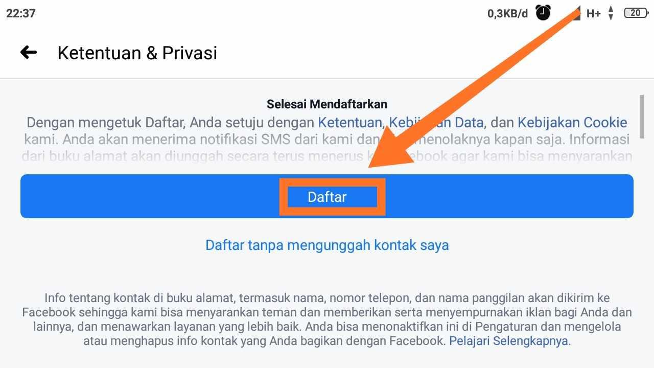 Cara daftar Facebook tanpa email dan nomor hp