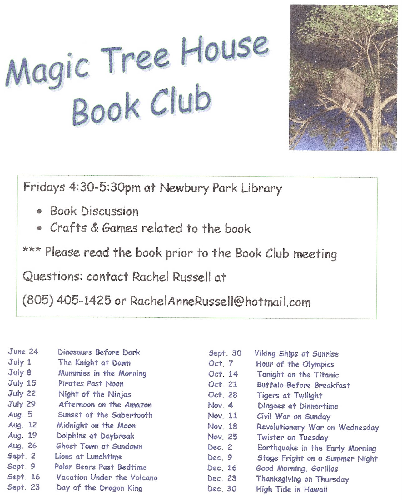 Magic Tree House Book Club July
