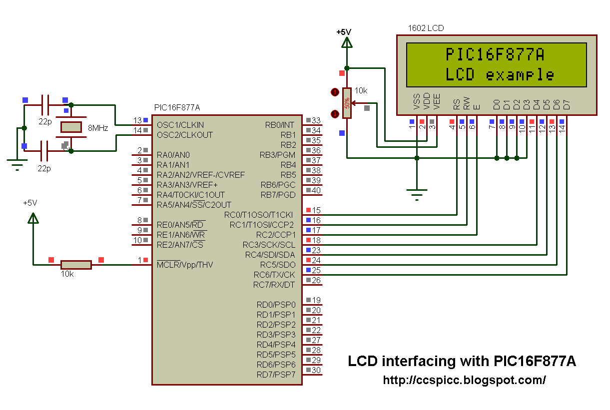Interfacing PIC16F877A with LCD using CCS C compiler