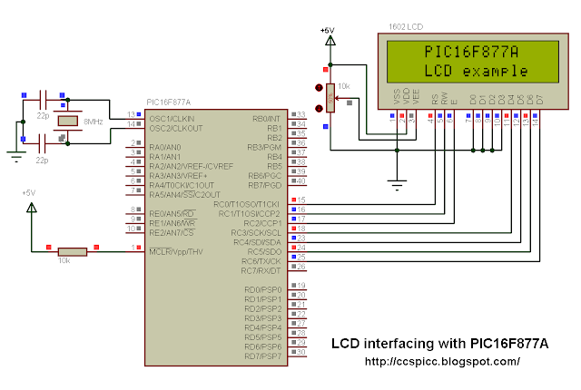 Interface PIC16F877A with LCD circuit CCS