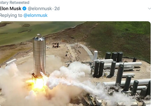 Starship SN5 lifts off from Boca Chica (Source: Elon Musk)