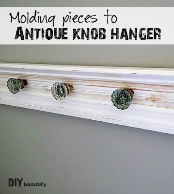 Turn discarded molding and trim pieces into a fabulous hanger with antique door knobs! You'll find the tutorial at DIY beautify