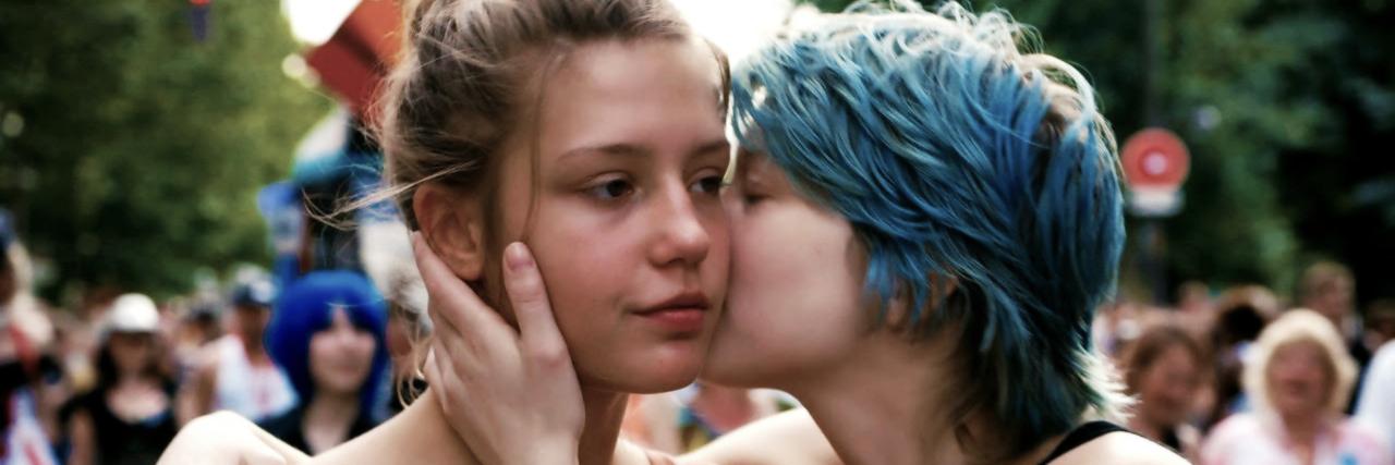 Ebony teen girl blue film