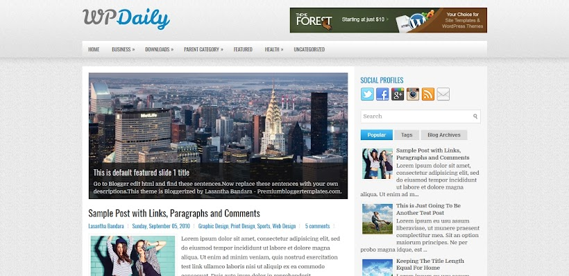 WPDaily Free Blogger Template