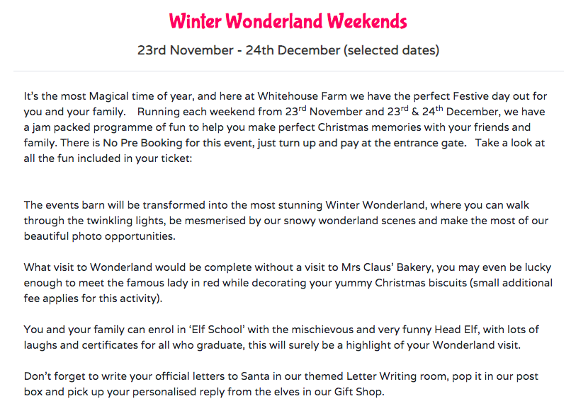 Christmas & Santa at Whitehouse Farm - A Review  - Winter Wonderland Weekends