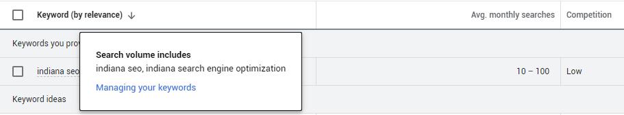 "Google Keyword Planner example of group keywords: ""indiana seo"""