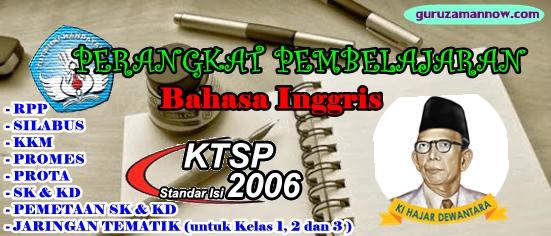 Perangkat Pembelajaran Bahasa Inggris Kelas 1 S D 6 Sd Mi Kurikulum 2006 Ktsp Lengkap