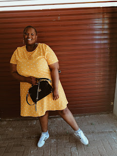 nomali from soweto, nomalifromsoweto, how to style plus size polka dots, stylish dresses from jet, jet fashion plus size, plus size blogger style , how to wear yellow if you are plus size, south african plus size blogger