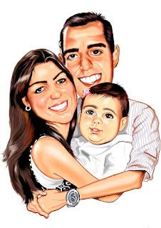 caricatura digital de família