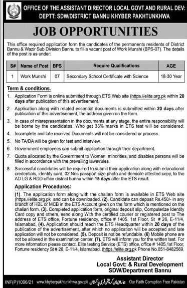 elite.org.pk - Local Government & Rural Development Department Jobs 2021 in Pakistan - Work Munshi Jobs 2021