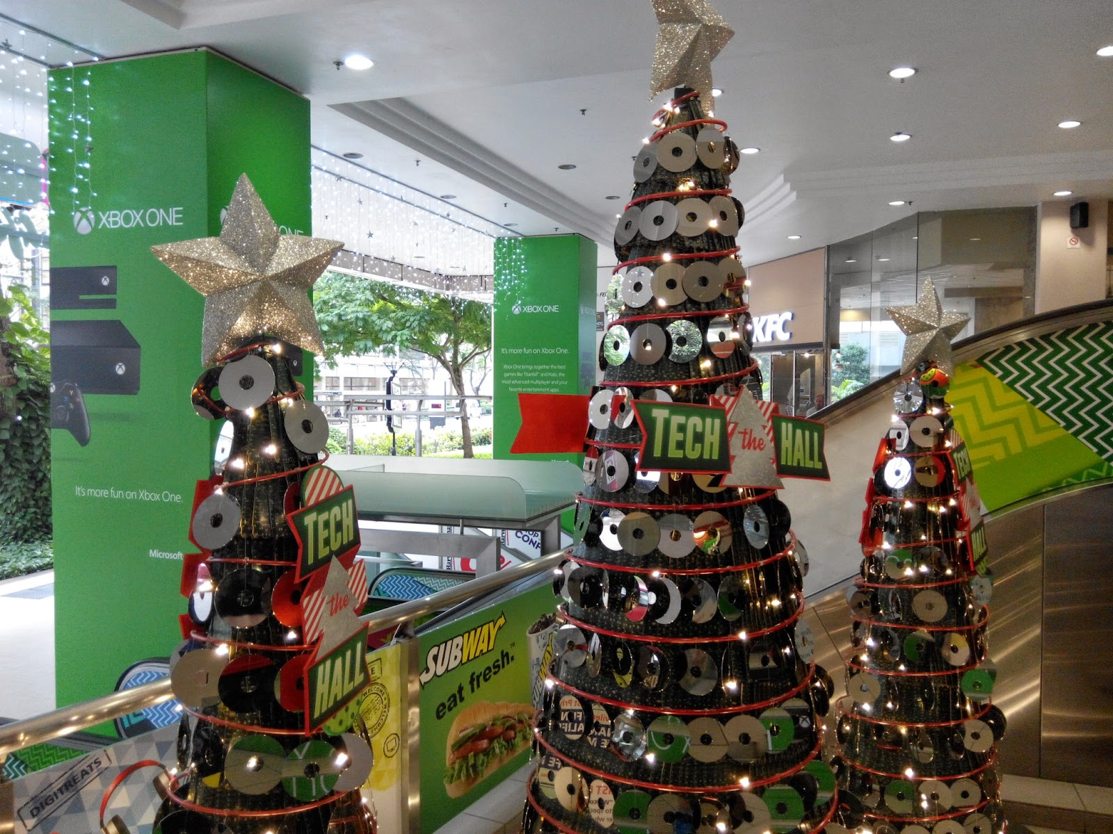 Christmas trees with decorated with DVDs