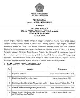 Surat Edaran  Kemenag tentang Pengumuman Buka Lelang Lima Jabatan Eselon I