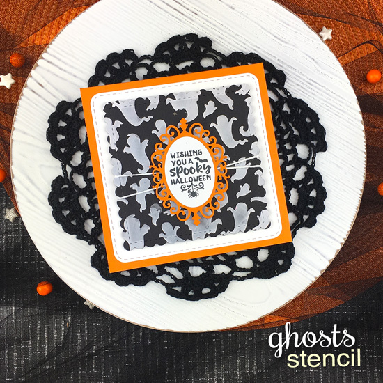Halloween Card with Ghosts by Jennifer Jackson | Creepy Cameos Stamp Set, Cameo Frame Die Set and Ghosts Stencil by Newton's Nook Designs #newtonsnook #handmade