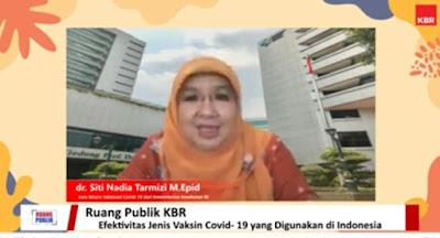 dr. Nadia juru bicara vaksinasi covid kemenkes RI dalam diskusi bersama KBR dn PMI