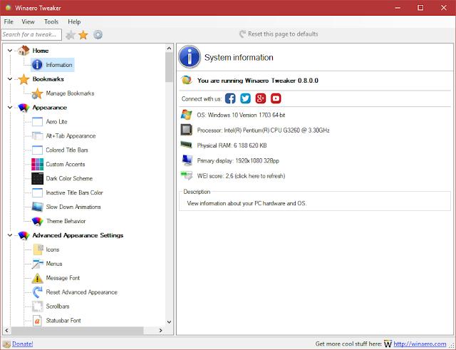 Winaero Tweaker 0.11.1   Todo en uno de personalización, privacidad y muchos retoques para Windows 7, 8 y 10