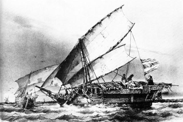 Kapal atau wangkang yang dipakai oleh para pelaut Makassar di lepas panta Raffles bay dekat Semenanjung Coburg