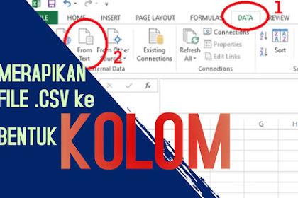 Merapikan File .csv Menjadi File Excel Berbentuk Kolom