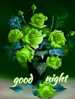 Beautiful Good night images pic with Greeny flowers with Altra text wishes good night