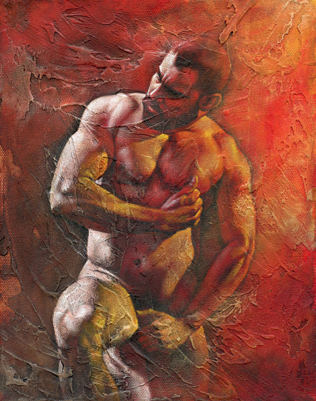 Gay male nude art painting by royo liu