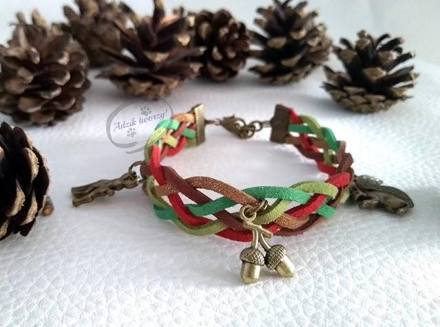 """Pleciona bransoletka handmade z zamszowych sznurków """"Jesienny las"""""""