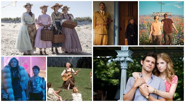 collage - Little Women, Jojo Rabbit, Midsommar, The Last Five Years, The Sound Of Music, Hustlers