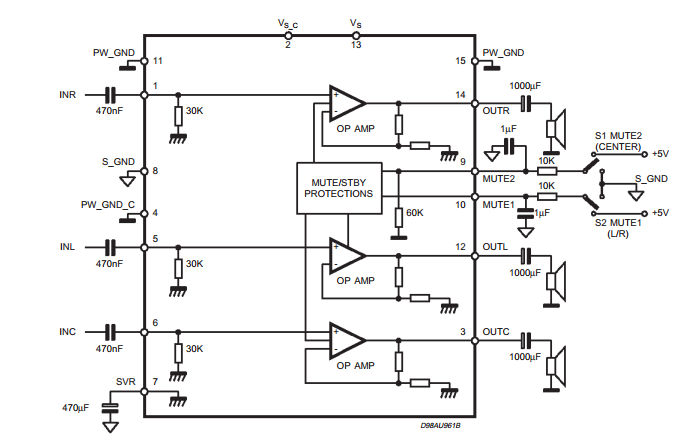 Triple amplifier circuit TDA7497 ~ AmplifierCircuits.com