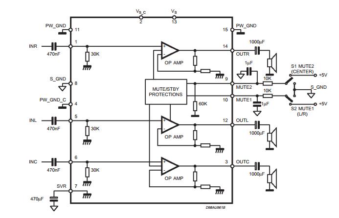triple amplifier circuit tda7497