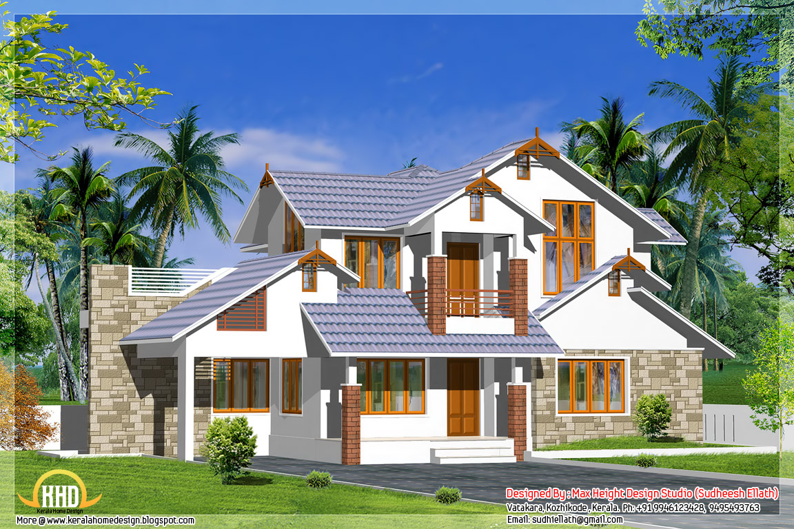 3 kerala style dream home elevations kerala home design for Kerala home style 3 bedroom