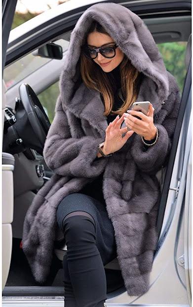 Dark Grey Faux Fur Coats For Women