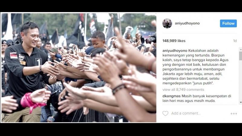 Ani Yudhoyono bicara soal kekalahan Agus